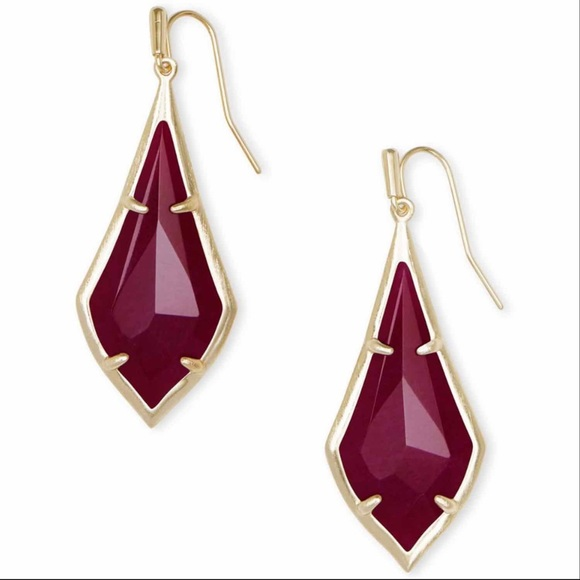 Kendra Scott Olivia Maroon Jade Drop Earrings